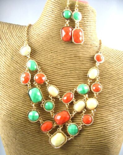 Beauty Color Crystal Beads Necklace Earring Set Costume Metal Fashion Jewelry