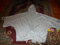 Zumba Wear Womens Wrap Me Up Cropped Hoodie Off The Chain White Small