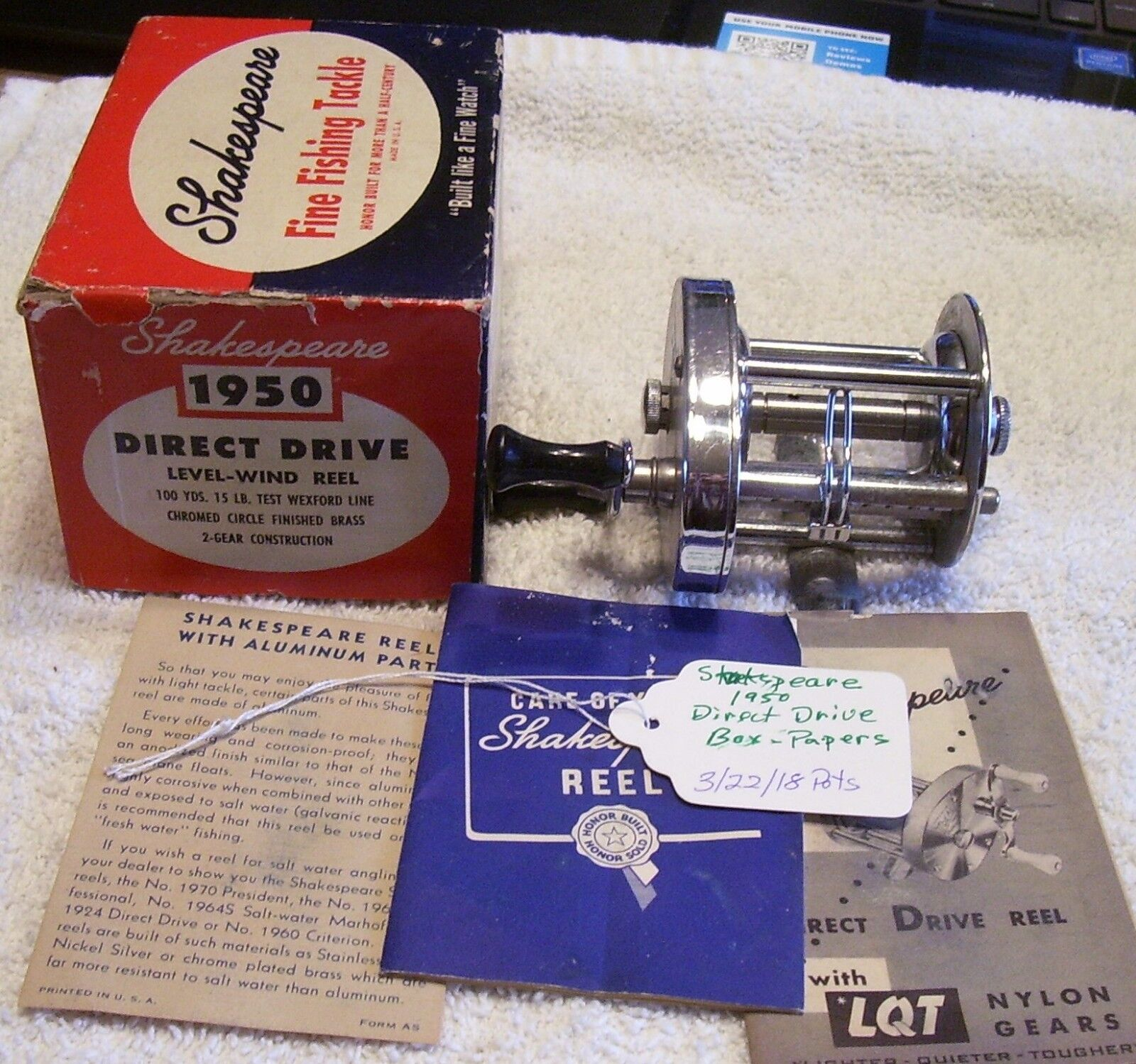 SHAKESPEARE DIRECT DRIVE 1950 REEL TAG 22 18POTS  BOX  PAPERS