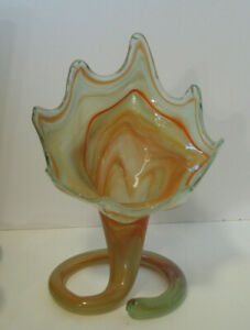 Vintage Murano Style Hand Blown Art Glass Vase LilyTrumpet Flower Swirl 113/4'