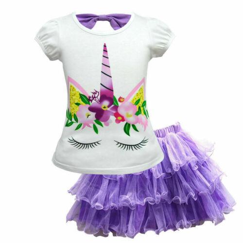 Girls Unicorn Princess Party Fancy tutu Dress Tutu Skirt+T-Shirt casual 2pcs set