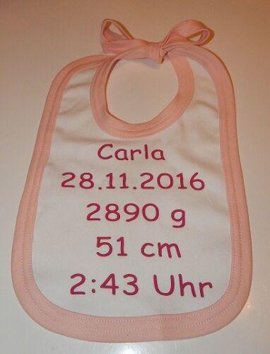 ♥ Baby Lätzchen mit Namen und Geburtsdaten Geschenk Geburt Taufe Unikat bedruckt