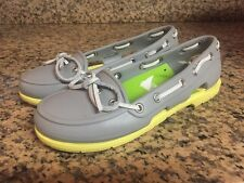 CROCS Women's 4 Bright Yellow & Grey Beach Line Rubber BOAT SHOES Loafers Flats