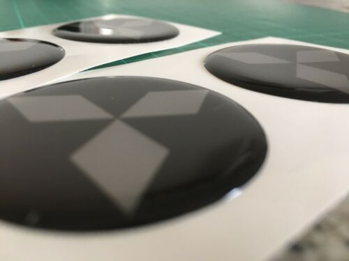 MITSUBISHI ALLOY WHEEL CENTRE CAP DOMED STICKERS BLACK SIL DIAMOND  EVO X4 45mm
