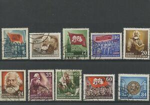 Germany-GDR-vintage-yearset-1953-Mi-344-353-Postmarked-Used-More-Sh-Shop-1