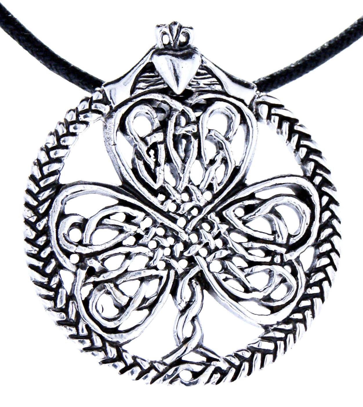 Shamrock 925 argentoo Ciondolo argentoo Catena irlandese QUADRIFOGLIO cuore cuore cuore l'irlandese nr 103 3f7143