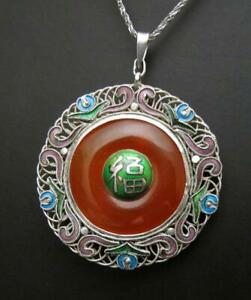 VINTAGE-CHINESE-EXPORT-SILVER-ENAMEL-amp-CARNELIAN-PENDANT-NECKLACE
