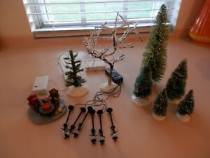 LEMAX Christmas Village Battery Operated Light Accessories  + Bottle Brush Trees