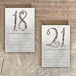 BIRTHDAY-INVITATIONS-BLANK-GREY-SILVER-GLITTER-EFFECT-18TH-21ST-PACKS-OF-10