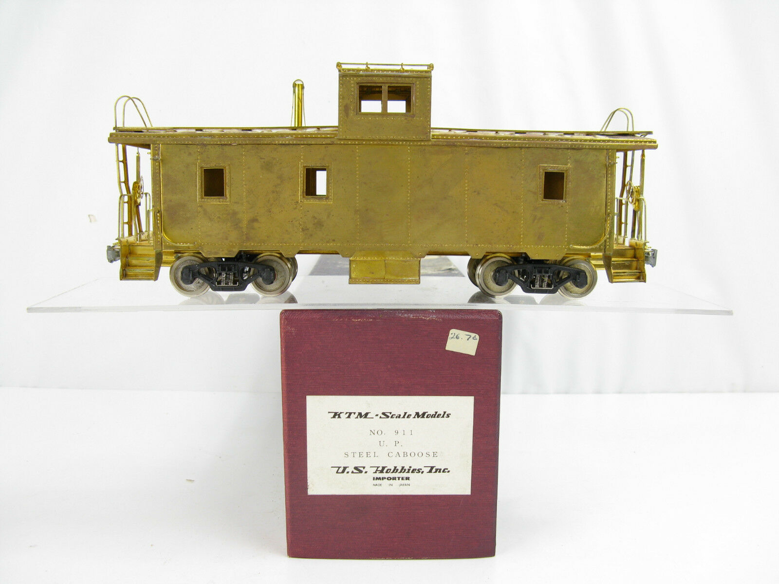 KTM US Hobbies O-Scale Brass Union Pacific UP Steel Caboose, No. 911, 2 Rail
