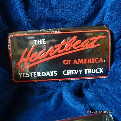 THE HEARTBEAT OF AMERICA YESTERDAYS CHEVELLE ALUM LICENSE PLATE MADEUSA CHEVY SS