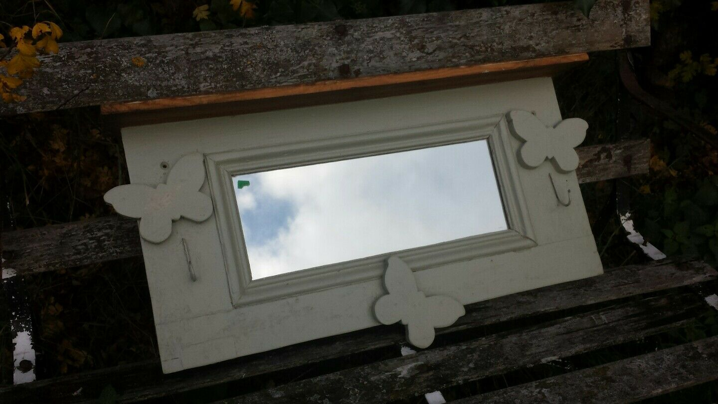 VICTORIAN PINE WALL MIRROR  WITH BUTTERFLY DECORATION -- FRENCH grau