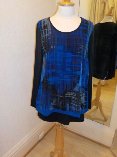 Pomodoro Print 21859 Blue Tunic Royal Grid Top rPqp4r0t