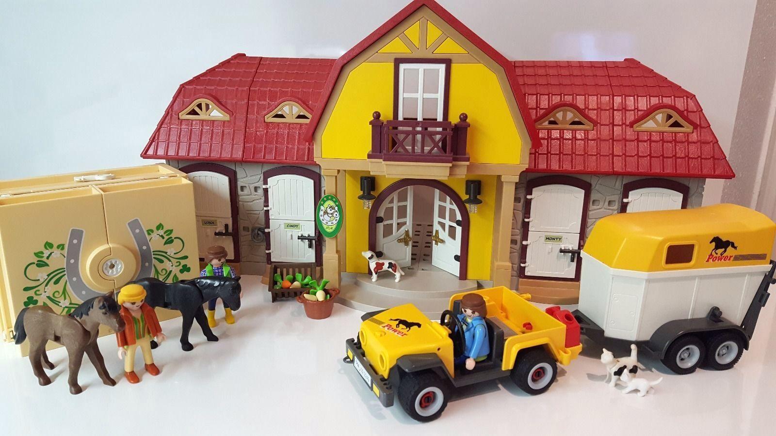 Playmobil 5221 Reiterhof, 5418 Tierpflegestation 4344, Jeep, Pferdeanhänger,