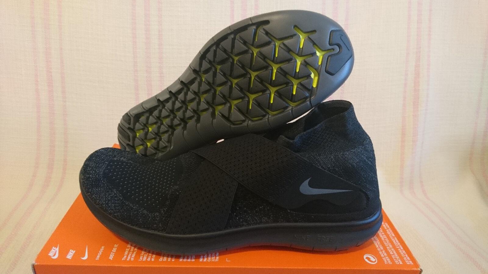 Sz 14 Nike Free RN Motion Flyknit 2018 Running Black Grey Anthracite 880845 003