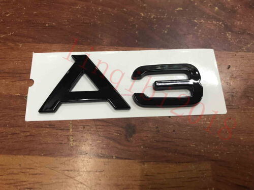 """Gloss Black /"""" A 3 /"""" Trunk Rear Letters Words Badge Emblem Sticker for Audi A3"""