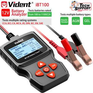 Vident iBT100 12V Batería De Coche Probador de carga de carga Analizador de Batería 100-1100CCA