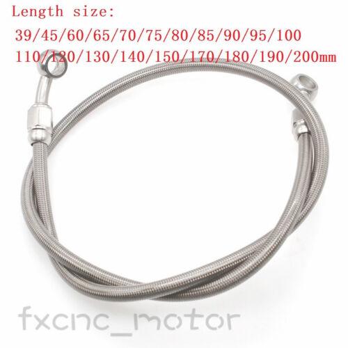 39cm-200cm Brake Oil Hose Line Banjo Fitting Steel Braided Motorcycle Silver
