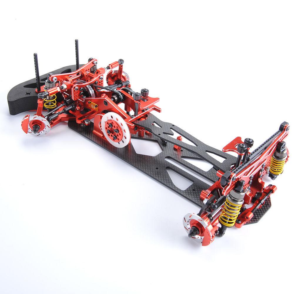 Aleación Rojo Fibra De Carbono 078055R G4 1 10 4WD Drift Rc Coche de Carreras Kit de marco