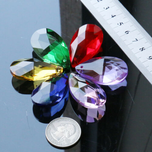 6 Color 38MM Teardrop Glass Crystal Parts Chandelier Prism Lamp Hanging Drop DIY