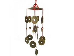 fsh131 feng shui wind chime mobile shower of coins chime 40cm long ebay. Black Bedroom Furniture Sets. Home Design Ideas