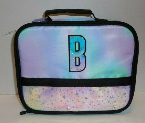 Justice Girls Initial Letter B Lunch Box Bag Tote Purple Stars New