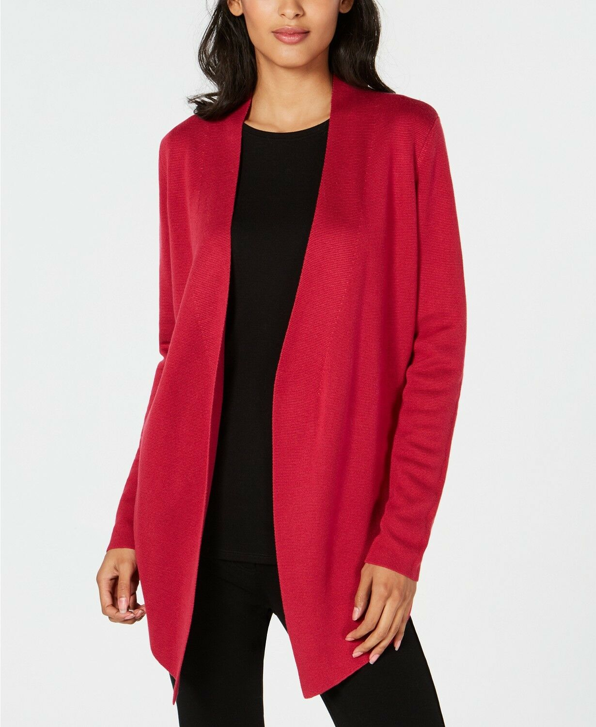 NEW EILEEN FISHER FISHER FISHER RADISH TENCEL SILK ANGLE FRONT OPEN FRONT CARDIGAN L  298 60e27f