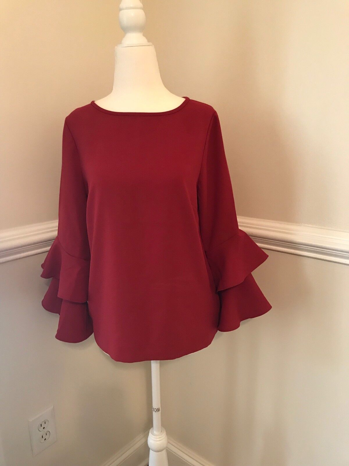 NEW J. CREW TIErot BELL-SLEEVE TOP IN DRAPEY CREPE SZ 4 BRIGHT CERISE rot  H2197