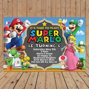 Personalised Super Mario Bros Invitation Invites Digital You Print