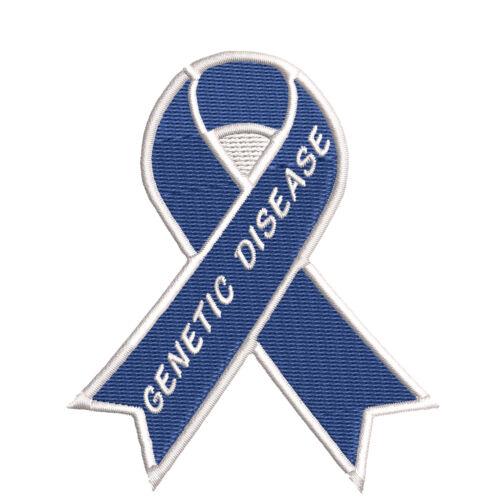 "Genetic Disease Blue Awareness Ribbon 3.5/"" Iron//Sew On Decorative Patch"