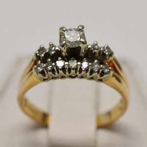 14k-Yellow-Gold-Solitaire-0-23-ct-With-Aceents-0-11-tcw-Ring-Size-7-5
