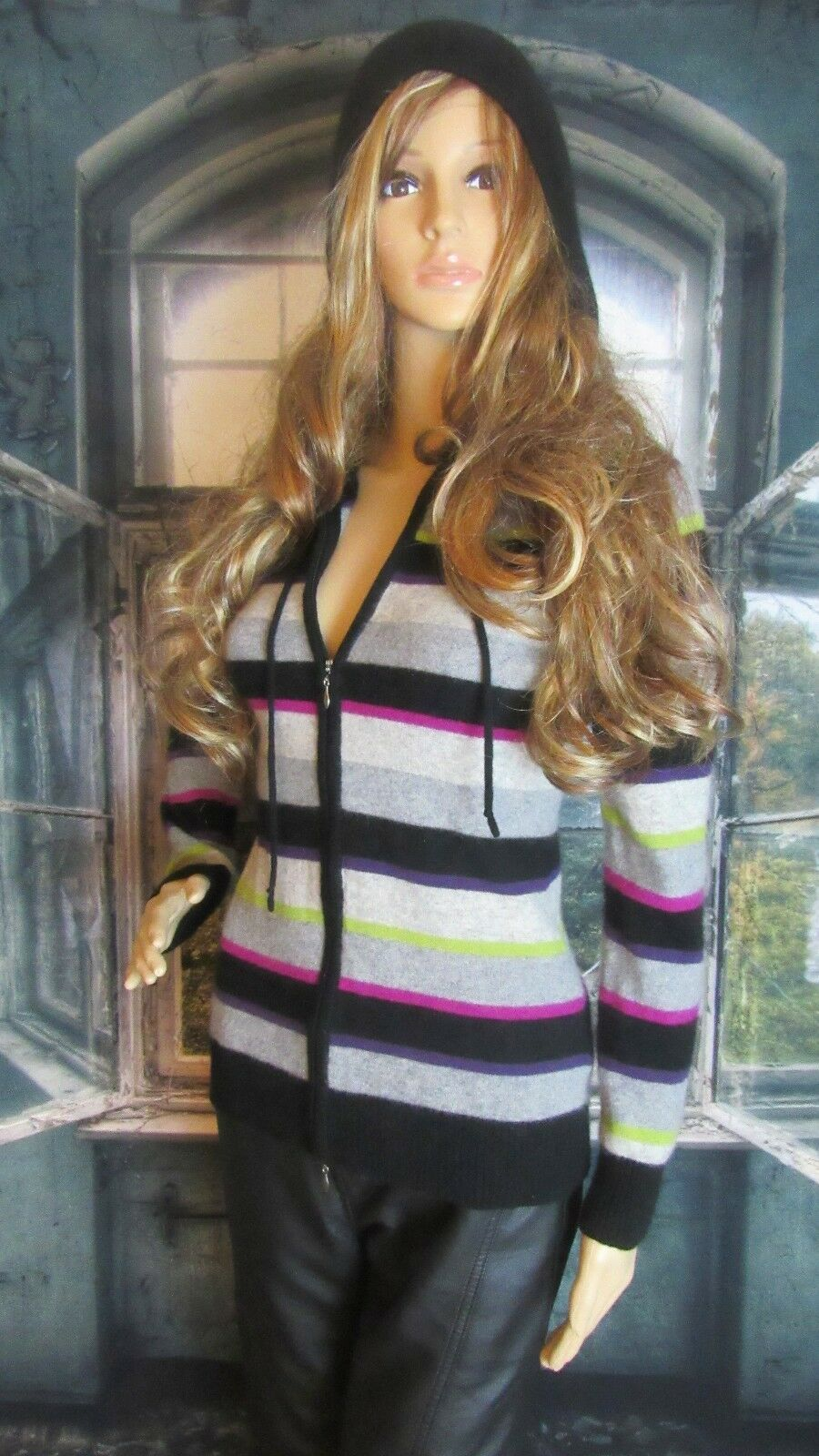 C by Bloomingdales 100% Cashmere Zip Front Hooded Hooded Hooded Striped Sweater Sz Med  238 43ddca