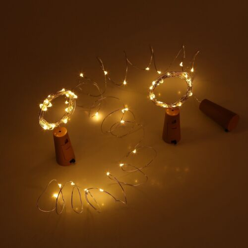 Copper Wire Wine Bottle Cork Battery Operated Micro Fairy String Lights 2M 20LED
