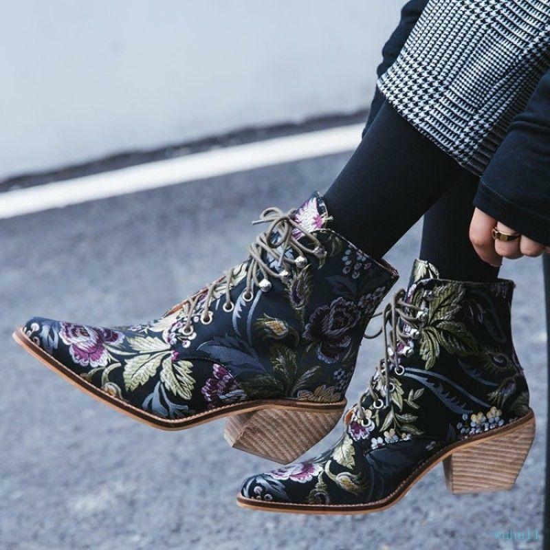 Women Emboridery Lace Up shoes Floral Flower Print Ankle Boots Chunky Heel @BT01