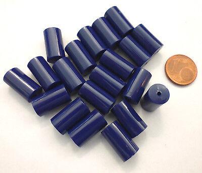 Plastikperlen 20 Stück Plastik Walze 16x8,5 Mm Dunkelblau Opak Kunststoffperlen