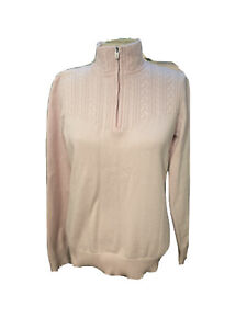 Pink Izod Women's Mock Neck Cable Knit Long Sleeve 1/4-zip Sweater Size M