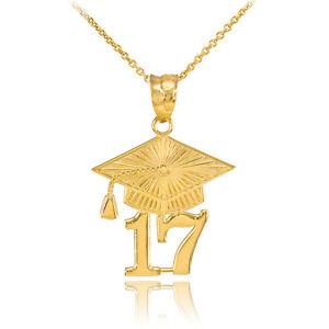 14k solid gold 2017 class graduation pendant necklace ebay