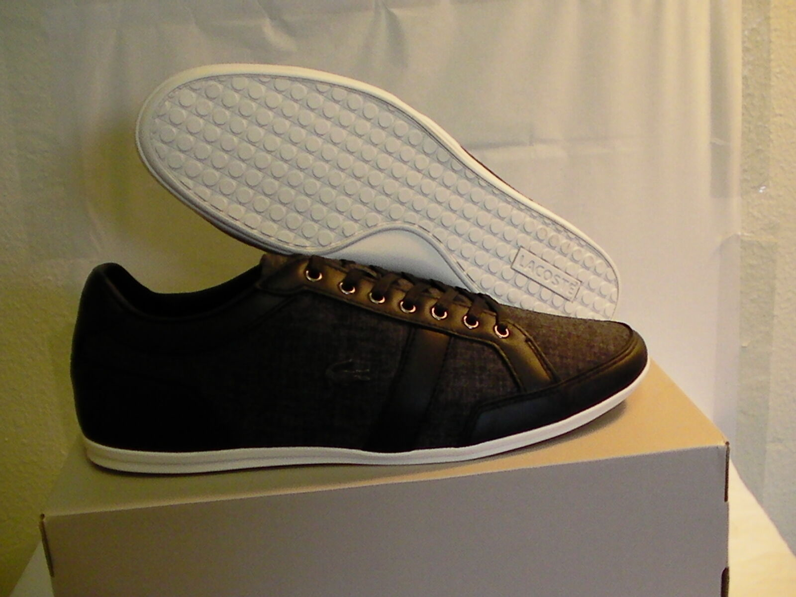 Lacoste men shoes casual alissos 13 spm blk textile leather size 11 us new