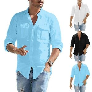Men-039-s-Baggy-Cotton-Linen-Pocket-Solid-Long-Sleeve-Retro-T-Shirts-Tops-Blouse