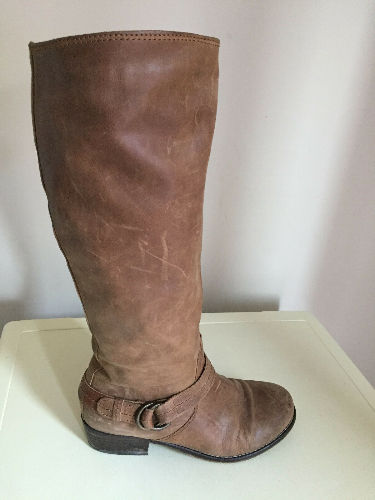 Women's Tan Leather  Distressed Knee High Boots SIZE 40 NEXT