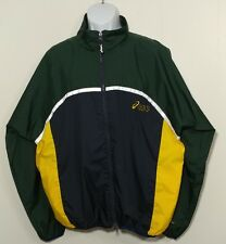 Asics Windbreaker Jacket L Large Mens Multi Color Green Yellow Vtg