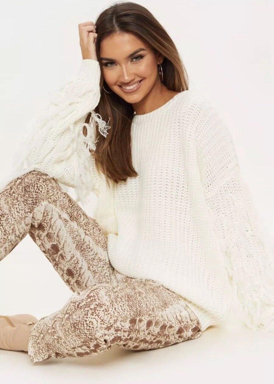 NWOT Pretty Little thing Cream Tassle Sleeve Jumper Sweater Small Women Soft