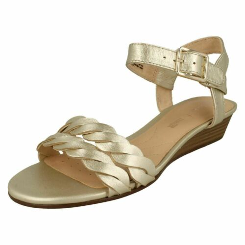 Smart Leather Fitting Blossom Ladies Low Mena Clarks D Sandals Champagne Wedge Heel gold qw1vvtI
