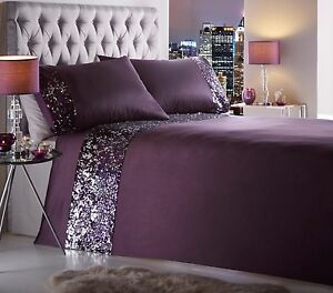 DAZZLE AMETHYST DUVET QUILT COVER SET PURPLE PLUM AUBERGINE SEQUIN ... : purple quilt cover - Adamdwight.com