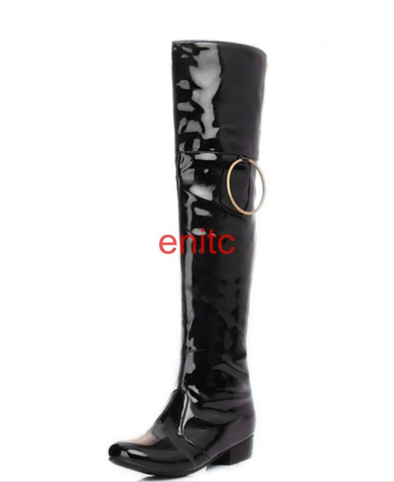 Sexy Low Cuban Heels Faux Patent Leather Over Knee Boots Womens Dance shoes Size