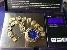 14k Solid Yellow Gold Greek Band w Raymond Weil Lapis & Diamond 18k EP Watch.