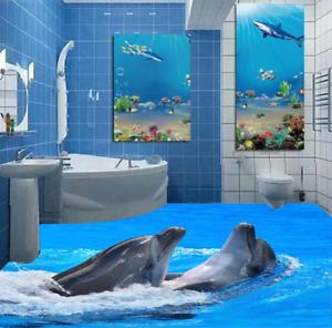 3D dos delfines Piso impresión de parojo de papel pintado mural 643 5D AJ Wallpaper Reino Unido Limón