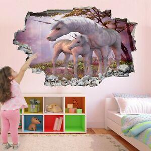 Unicorn Fantasy Forest Wall Sticker Mural Decal Print Art Girls Room Decor AZ43