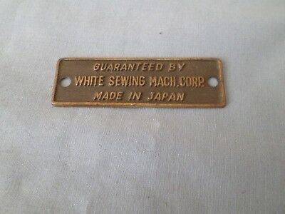 "TAG /""WHITE/"" VINTAGE METAL SEWING MACHINE BADGE EMBLEM PLAQUE"