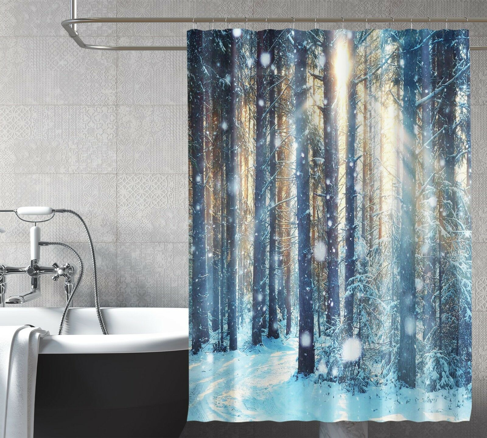 3D Snow Forest 546 Shower Curtain Waterproof Fiber Bathroom Home Windows Toilet